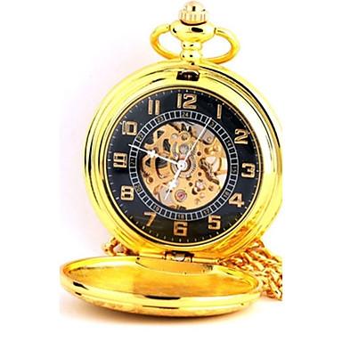 Bărbați Ceas de buzunar Mecanism automat Gravură scobită Aliaj Bandă Auriu