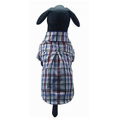 كلب T-skjorte ملابس الكلاب Plaid/Check أزرق داكن كوفي أزرق قطن كوستيوم للحيوانات الأليفة للرجال للمرأة كاجوال/يومي
