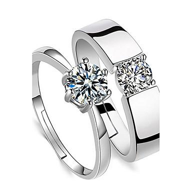 Pentru cupluri Zirconiu Cubic Zirconiu Inele Cuplu - Montaj de Patru De Bază Pentru Nuntă Zilnic Casual Serată Birou și carieră Muncă
