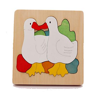 قطع تركيب3D تركيب ألعاب تربوية الحيوانات خشب الخشب الطبيعي كرتون للأطفال للجنسين هدية