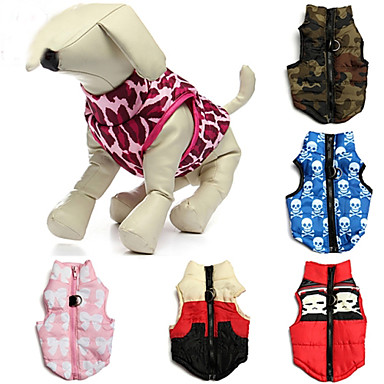 cheap Dog Clothing & Accessories-Cat Dog Coat Vest Dog Clothes Skull Camo / Camouflage Pink Camouflage Color Red / White Cotton Costume For Spring &  Fall Winter Men's Women's Casual / Daily Keep Warm