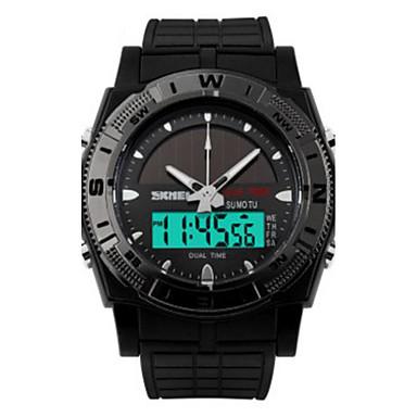 남성용 스포츠 시계 디지털 방수 LED PU 밴드 참 블랙