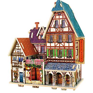 قطع تركيب3D تركيب بيت معمارية 3D اصنع بنفسك خشب الخشب الطبيعي عيد ميلاد للجنسين هدية