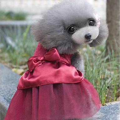 Pisici Câine Rochii Îmbrăcăminte Câini Cristale/ Strasuri Albastru Închis Rosu Bumbac Costume Pentru animale de companie Petrecere