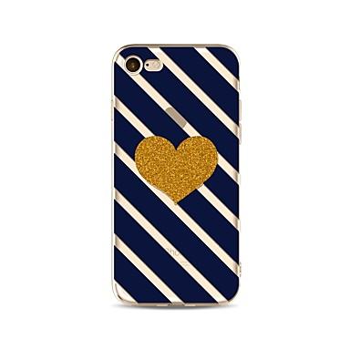 hoesje Voor Apple iPhone X iPhone 8 Plus Transparant Patroon Achterkant Lijnen / golven Hart Glitterglans Zacht TPU voor iPhone X iPhone