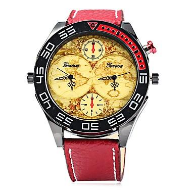 Bărbați Ceas La Modă Ceas de Mână Ceas Casual Chineză Quartz Zone Duale de Timp  Mare Dial Piele Bandă Casual Cool Negru Albastru Roșu