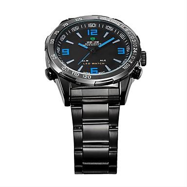 WEIDE Homens Relógio de Pulso Quartzo Quartzo Japonês LED Calendário Cronógrafo Impermeável Dois Fusos Horários alarme Relógio Esportivo