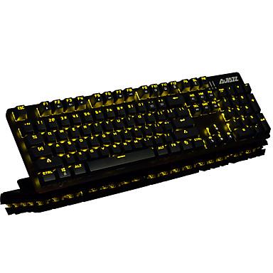 AJAZZ سلكي موضوع لون الخلفية مفاتيح سوداء 104 لوحة المفاتيح الميكانيكية الخلفية