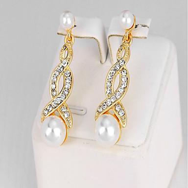 Dames Druppel oorbellen Synthetische Diamant Imitatie Parel Modieus Imitatieparel Legering Geometrische vorm Sieraden Feest Verjaardag