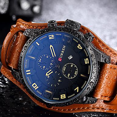 Heren Unieke creatieve horloge Polshorloge Modieus horloge Sporthorloge Vrijetijdshorloge Chinees Kwarts Kalender Waterbestendig Echt leer