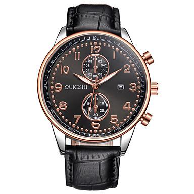 Bărbați Quartz Ceas de Mână Chineză Calendar Mare Dial Piele Bandă Charm Lux Casual Unic Watch Creative Ceas Elegant Elegant Modă Negru