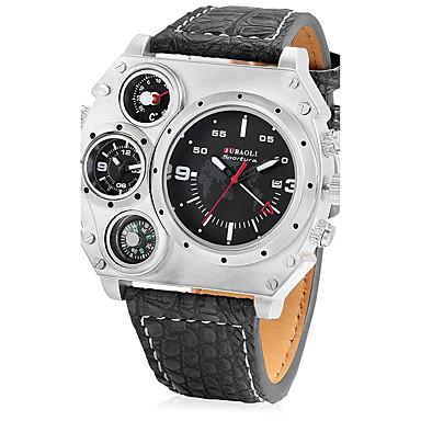 JUBAOLI Bărbați Unic Creative ceas Ceas Militar  Ceas Sport Chineză Quartz Calendar Zone Duale de Timp  Piele Bandă Cool Negru Khaki