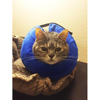 Pisici Câine Gulere Portabil Ajustabile Mată Material Din Fâș Albastru