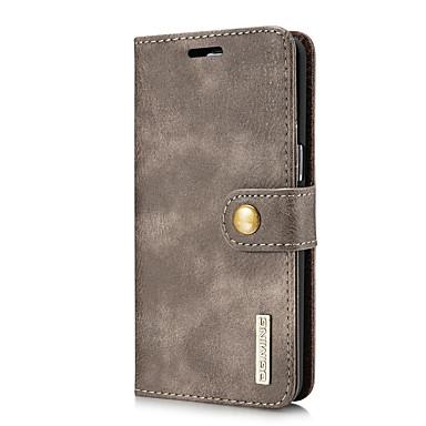 Недорогие Чехлы и кейсы для Galaxy S-DG.MING Кейс для Назначение SSamsung Galaxy S8 Бумажник для карт / со стендом / Флип Чехол Однотонный Твердый Настоящая кожа для S8 Plus / S8 / S7 edge