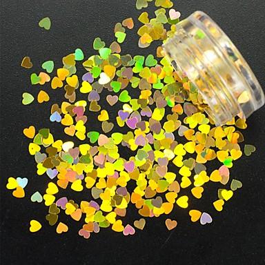 1g / sticla de moda unghii de arta superba auriu sclipici paiete clasic unghii diy frumusete decorare arta frumoasa inima paiete