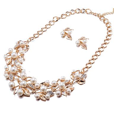 Damen Strass Imitierte Perlen Künstliche Perle Schmuck-Set - Modisch Blume Ohrstecker Halskette Für Party Alltag Normal Büro & Karriere