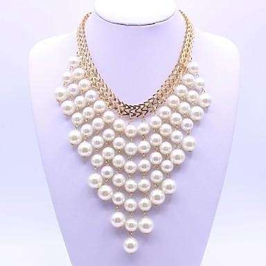 Pentru femei Imitație de Perle Coliere Layered  -  Clasic Modă Geometric Shape Alb Coliere Pentru Petrecere Cadou Zilnic