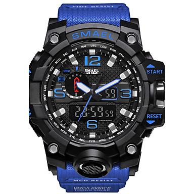 זול שעוני גברים-SMAEL בגדי ריקוד גברים שעוני ספורט שעונים צבאיים שעון דיגיטלי Japanese דיגיטלי דמוי עור מרופד סיליקוןריצה שחור / אדום / תפוז 50 m עמיד במים לוח שנה כרונוגרף אנלוגי-דיגיטלי יום יומי אופנתי - / שנתיים