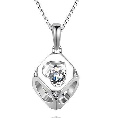 Dames Hangertjes ketting Sieraden Kubieke Zirkonia Geometrische vorm Sterling zilver Modieus PERSGepersonaliseerd Oversized Sieraden Voor