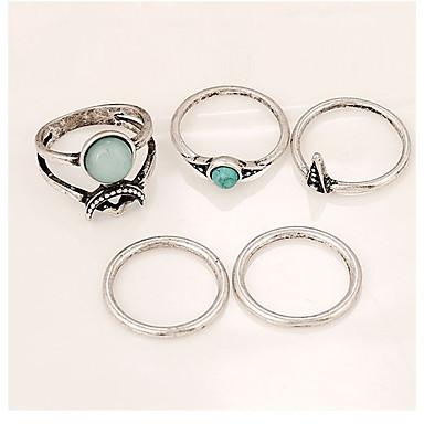 Pentru femei Turcoaz Geometric Band Ring - Γεωμετρικά, Clasic, Vintage O Mărime Argintiu Pentru Crăciun / Petrecere / Casual