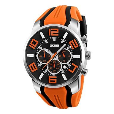저렴한 남성용 시계-남성용 스포츠 시계 밀리터리 시계 손목 시계 일본어 석영 실리콘 블랙 / 블루 / 레드 50 m 방수 달력 창조적 아날로그 클래식 캐쥬얼 뱅글 패션 - 레드 그린 블루 2 년 배터리 수명 / 큰 다이얼