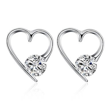 Pentru femei Inimă Zirconiu Cubic Argintiu Cercei Stud - De Bază Argintiu cercei Pentru Nuntă / Petrecere / Cadou