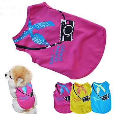 Kat Hond T-shirt Hondenkleding Letter & Nummer Geel Roos Blauw Katoen Kostuum Voor huisdieren Zomer Heren Dames Casual / Dagelijks