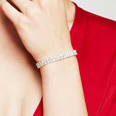 Kadın's Gümüş Kaplama Simüle Elmas Tılsım Bileklikler - Lüks Yapay elmas Gelin Zarif Çift katman Dörtgen Gümüş Bilezikler Uyumluluk