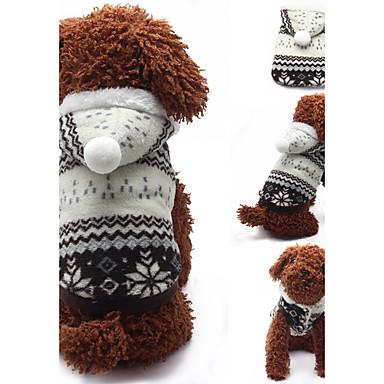 كلب هوديس ملابس الكلاب هندسي بني أحمر قطن كوستيوم للحيوانات الأليفة كاجوال/يومي