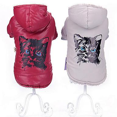 Katze Hund Mäntel Kapuzenshirts Hundekleidung Atmungsaktiv Lässig/Alltäglich warm halten Tier Grau Rot Kostüm Für Haustiere