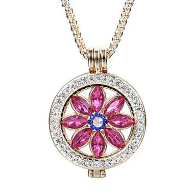 Pentru femei Floare Cristal Ștras Cristal Coliere cu Pandativ  -  Vintage Elegant Modă Rotund Auriu Argintiu Coliere Pentru Zilnic Casual