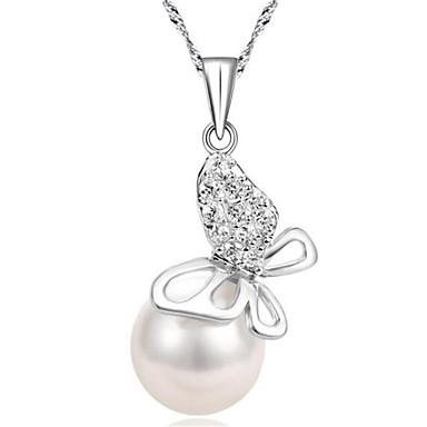 Dames Hangertjes ketting Imitatie Parel Geometrische vorm Sterling zilver Modieus PERSGepersonaliseerd Sieraden VoorBruiloft Feest