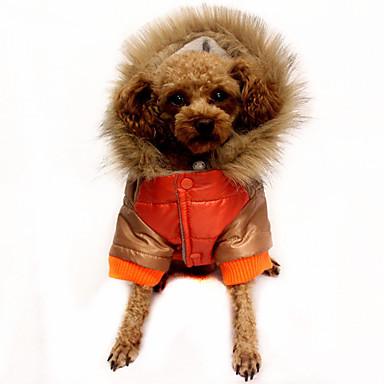 Câine Haine Jachete cu Puf Îmbrăcăminte Câini Cald Casul/Zilnic Bloc Culoare Portocaliu Cafea Rosu Costume Pentru animale de companie