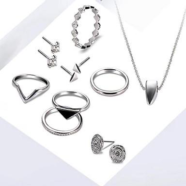 للمرأة أقراط الزر قلائد الحلي خاتم حجر الراين موضة أسلوب بسيط حزب هدية يوميا سبيكة Circle Shape