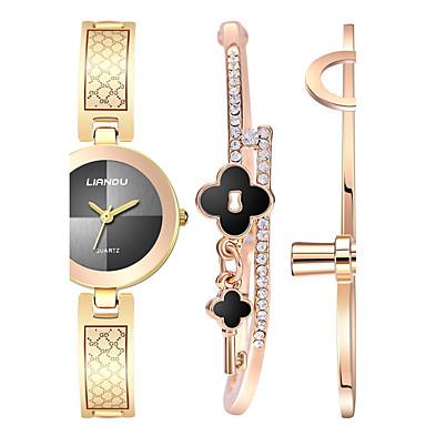 Dames Polshorloge Armbandhorloge Kwarts Roestvrij staal Band Creatief Elegante horloges Goud Goud Rose