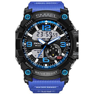 זול שעוני גברים-SMAEL בגדי ריקוד גברים שעוני ספורט שעוני אופנה שעונים צבאיים Japanese דיגיטלי דמוי עור מרופד סיליקוןריצה שחור / אדום / תפוז 50 m עמיד במים לוח שנה כרונוגרף אנלוגי-דיגיטלי יום יומי - / שנתיים