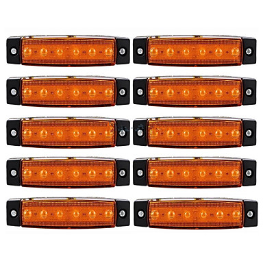 Ziqiao 10pcs 12v 6led side marker indicators lamp lamp voor auto truck trailer vrachtwagen 6 led amber / wit / rood