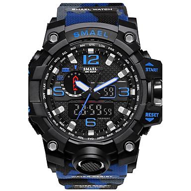 Χαμηλού Κόστους Ανδρικά ρολόγια-SMAEL Ανδρικά Αθλητικό Ρολόι Ψηφιακό ρολόι Ρολόι κυνηγιού σιλικόνη Μαύρο / Κόκκινο 50 m Ανθεκτικό στο Νερό Χρονόμετρο Νυχτερινή λάμψη Αναλογικό-Ψηφιακό Κόκκινο / Μπλε Χακί καμουφλάζ Πράσινη
