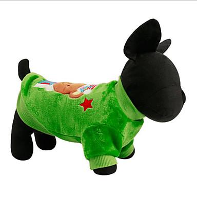 Hond Sweatshirt Hondenkleding Kerstmis Rood Groen Pluche stof Dons Kostuum Voor huisdieren Heren Dames Kerstmis