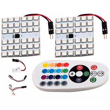 2pcs rgb 5050 36 smd led lumina cupola t10 festoon adaptor lampa de control lampa de control dc12v