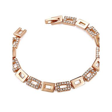للمرأة أساور السلسلة والوصلة مكعب زركونيا بوهيميان موضة مطلية بالذهب مربع مجوهرات حزب هدية مجوهرات
