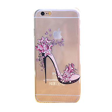 Teste padrão de flores saltos alívio TPU transparente fina diamante colar de volta capinha capa para o iPhone 6 / 6s