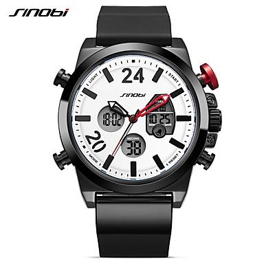 Χαμηλού Κόστους Ανδρικά ρολόγια-SINOBI Ανδρικά Αθλητικό Ρολόι Ψηφιακό ρολόι Ιαπωνικά Ψηφιακή σιλικόνη Μαύρο 30 m Ανθεκτικό στο Νερό Ημερολόγιο Δημιουργικό Αναλογικό-Ψηφιακό Καθημερινό - Μαύρο / LED / Διπλές Ζώνες Ώρας