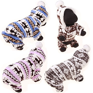Dog Sweater Hoodie Jumpsuit Dog Clothes Reindeer Coffee Blue Pink Cotton Costume For Spring &  Fall Winter Casual / Daily
