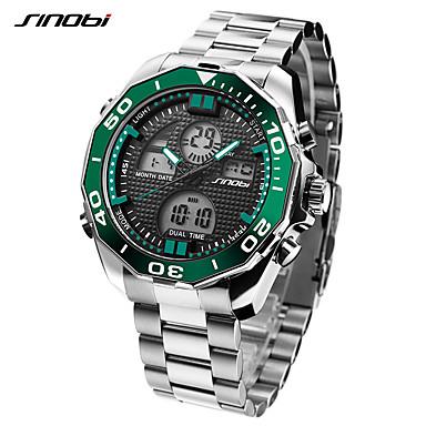 Недорогие Часы на металлическом ремешке-SINOBI Муж. Спортивные часы Наручные часы электронные часы Японский Цифровой Нержавеющая сталь Серебристый металл 30 m LED Cool Аналого-цифровые Роскошь На каждый день - Темно-зеленый
