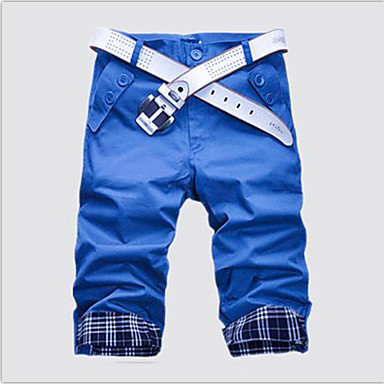 baratos Roupa de Homem Moderna-Homens Básico Diário Final de semana Delgado Reto / Shorts Calças - Xadrez Algodão Verde Khaki Azul Real L XL XXL / Verão