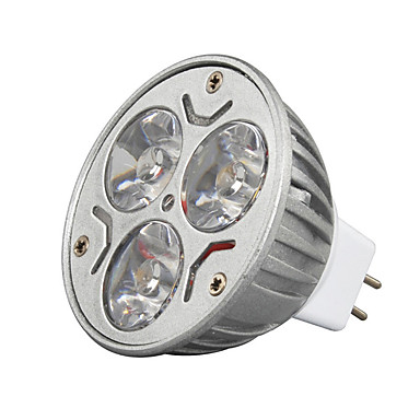3W GU5.3(MR16) Lâmpadas de Foco de LED MR16 3 leds LED de Alta Potência Decorativa Branco Quente Branco Frio 250-300lm 3000/6500K DC 12V