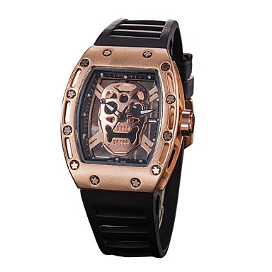 cheap Men's Watches-Men's Sport Watch Skeleton Watch Wrist Watch Quartz Silicone Black Water Resistant / Waterproof Chronograph Hollow Engraving Analog Casual Fashion Elegant - Silver Black / Gold Gold / Black