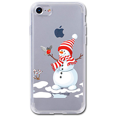 voordelige iPhone 5 hoesjes-hoesje Voor iPhone 7 / iPhone 7 Plus / iPhone 6s Plus iPhone SE / 5s Transparant / Patroon Achterkant Cartoon / Kerstmis Zacht TPU