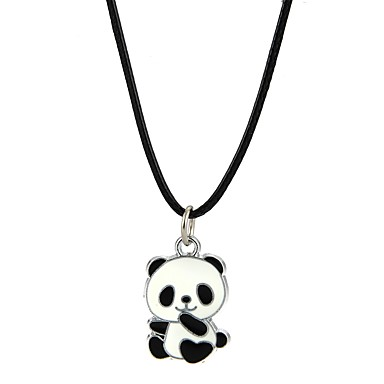 abordables Collares-Hombre Mujer Collares con colgantes Oso Panda Animal Legierung Negro Gargantillas Joyas Para Fiesta Discoteca